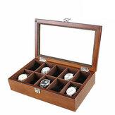 Reloj de 10 ranuras de madera con claraboya Caja Joyería Pantalla Colección Almacenamiento Caja