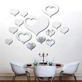 3D Cuore Argento DIY forma a specchio Adesivi da parete Home Wall Sfondo camera da letto Decorazione ufficio