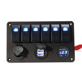 6 Gang LED Rocker Switch Panel Volt Meterr Dual Usb Power Charger Marine Лодка RV