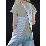 S-5XL Japanese Women Casual Cross Strap Striped Pockets Pinafore Dress