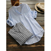 Women Stripe V-neck Buttons 3/4 Fold Sleeve Irregular Blouse