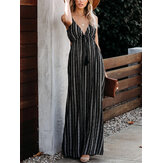 Stripe V-neck Backless Tassel Design Holiday Maxi Dress