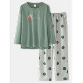 Women Japanese Style Polka Dot Print Cotton Loose Pants Plus Size Home Pajamas Sets