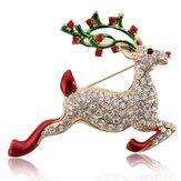 Kolorowe Crystal Christmas Bell Elk Snowman Brooch Pins Christmas Gift