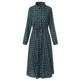 Casual Mulheres Drawstring Waist Plaid Dress