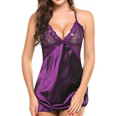 Mujer Soft Plunge Backless Nightwear