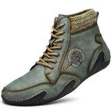 Botas masculinas feitas à mão Soft antiderrapantes e confortáveis botas de couro com cordões