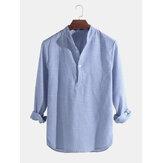 Camisas casuais masculinas, camisas sociais listradas com gola Henley com decote em v Camiseta com botões