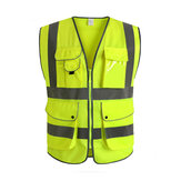 Groen Unisex High Visibility Reflective Multi Pockets Construction Veiligheid Vest