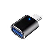 HCJTWIN USB3.0 do konwertera typu C Złącze ze stopu aluminium z lampką do oddychania do samochodowego telefonu komórkowego