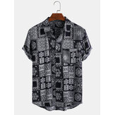 Mens Ethnic Style Printing Plaid Atmungsaktive Turn Down Kragen Casual Shirts