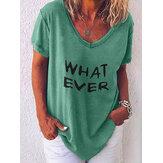 T-shirts décontractés à manches courtes et à col en V pour femmes