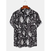 Mens Casual Abstract Cartoon Short Sleeve Shirts