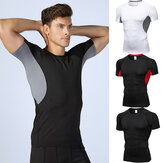 YUERLIAN Magliette a compressione da uomo Athletic Running Training Gym T-shirt Abbigliamento da corsa Camicia Uomo Body building T-shirt sportiva