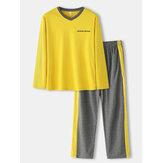 Mens jacquard lettera Modello scollo a V manica lunga banda laterale superiore elastico in vita casa pigiama casual set