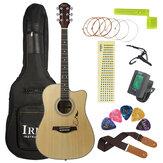 IRIN 41 Inch Panel de abeto con esquinas estampadas Guitarra acústica