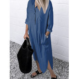 Women Daily Casual Denim Loose Long Shirts Dress