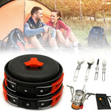 1-2 Mensen Backpacking Kookgerei Set Gas Butaan Propaan Bus Fornuis Pot Kom Pan Picknick BBQ Servies Outdoor Camping