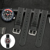 Bakeey 20/22mm Rubber Black Waffle Watch Band For Seiko/Omega/Oris