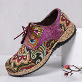 SOCOFY Folkways Pattern Round Toe Leather Splicing Comfy Lace Up Flat Shoes