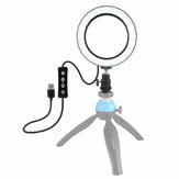 PULUZ PU377 USB 4.6 Inch 3 Modes 3200K-5500K Dimmable LED Video Ring Light with Cold Shoe Tripod Ball Head for Tiktok Live Streaming