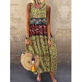 Kadın Kolsuz O-Boyun Çiçek Baskı Şalvar Yaz Maxi Elbise