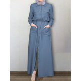 Women Kaftan Solid Color Lapel Front Pockets Tooling Maxi Dresses