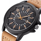 Fashion Kausal Kreatif Tanggal Tampilan Waterproof Leather Strap Men Quartz Perhiasan