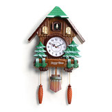 Original Large Size Wood Cuckoo Clock Green Hut Swing Wall Alarm Art Handcraft Room Decor
