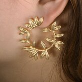 Boucles d'Oreilles Fashion Metal Hallow Leaves