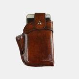 Erkekler Hakiki Deri Retro Küçük Telefon Çanta Düz Renk Kemer Çanta Bel Çanta