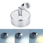 Chrome LED Spot Reading Lights with Button Switch 12-24V 1W for for Caravan/RV Camper Van Boat