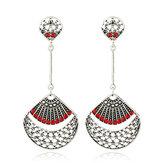 Retro Red Rhinestone Antique Silver Sector Ear Drop Vintage Earrings for Women