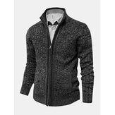 Cardigan maglione a maniche lunghe con cerniera lavorata a coste da uomo con tasca