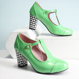 Femmes T-strap Geometric Graphic Chunky Heel Cutout Casual High Heels
