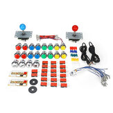 50 PCS DIY Arcade Joystick Kit USB Chip Papan 32mm LED Tombol 5Pin Joystick Plating Tombol USB Kabel