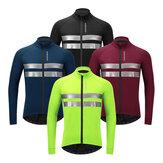 WOSAWE Winter Thermal Warm Fleece Giacca da ciclismo da uomo Sicurezza riflettente MTB Bicicletta da strada Abbigliamento bici antivento