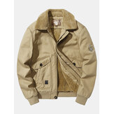 Mens Badge Embroidery Cotton Fleece Lined Warm Casual Jacket With Pocket