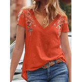 Floral Embroidery V-Neck Short Sleeve Casual T-Shirts For Women