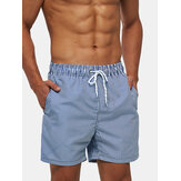 Mens Lightweight Blue Striped Quick Dry Praia Mesh Line Drawstring Casual Shorts