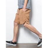 Mens 100% Cotton Drawstring Breathable Pocket Fit Comfy Casual Shorts