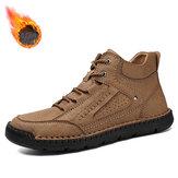 Botas de tornozelo masculinas confortáveis de couro de microfibra com costura à mão e costura à mão