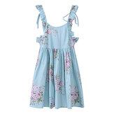 Vestido infantil feminino de algodão vintage floral estampado sem mangas sem encosto