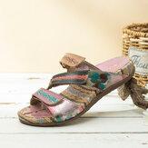 Sandálias de couro com listras planas e tiras de couro SOCOFY retrô com impressão de flores