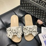 Women Weave Polka Dot Decor Slide Sandals