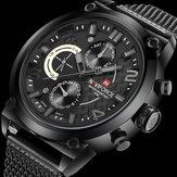 NAVIFORCE 9068 cinta de aço inoxidável relógios de quartzo impermeável semana exibição homens assistir