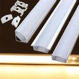 LUSTREON 50CM Suporte de Canal de Alumínio para Lâmpada Sob Gabinete LED Barra Luminária Correia