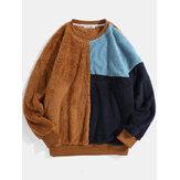 Heren kleurblok patchwork pluizig pluche losse pullover teddy sweatshirts