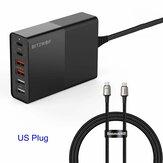 BlitzWolf® BW-S16, 6-портовый USB-зарядное устройство для PD, 75 Вт, Настольная зарядная станция Dual PD3.0 QC3.0 с Baseus, 100 Вт, 5A, цинк-магнитный кабель для перед