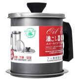 1.4L Capacity Stainless Steel Residue Filter Oil Storage Can with Strainer for Kitchen Filter Oil Tool
